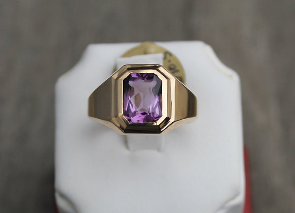 10K Amethyst Mens Ring