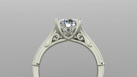 Custom Filigree Diamond Ring Side View with Twin Prongs