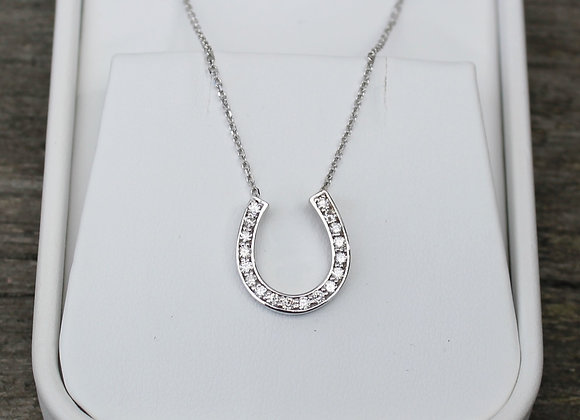 14K White Gold Horseshoe Diamond Necklace