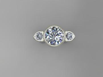 Full Bezel 3 Stone Ring Design