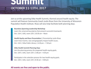 "2017 Sitka Health Summit ""Planning Day"": October 11-13, 2017"
