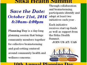 SAVE THE DATE: Sitka Health Summit's 10th Annual Planning Day is October 21, 2016