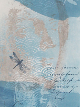DETAIL FROM KAKEMONO WITH INDIGO AND PRINTS