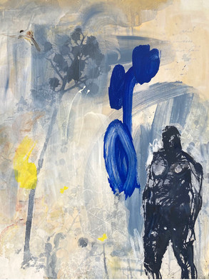 MAN AND BLUE FIGURE