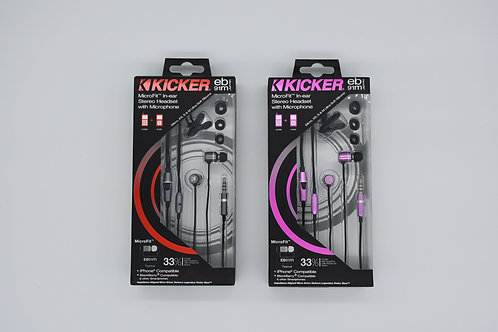 KICKER EB91M MicroFit™ In-ear Stereo Headset with Microphone