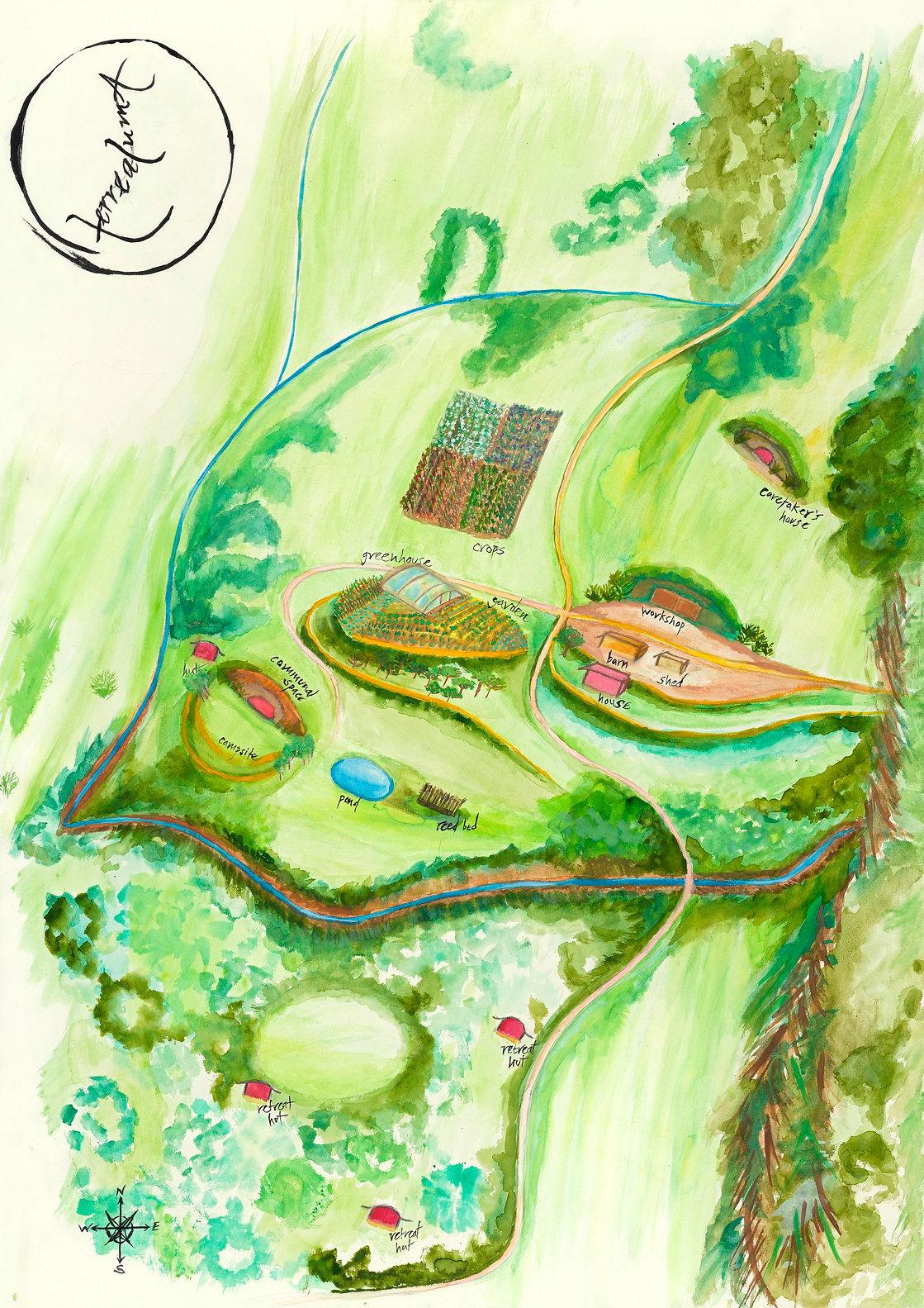 map, terrealuma, land, garden, forest, crops, buildings
