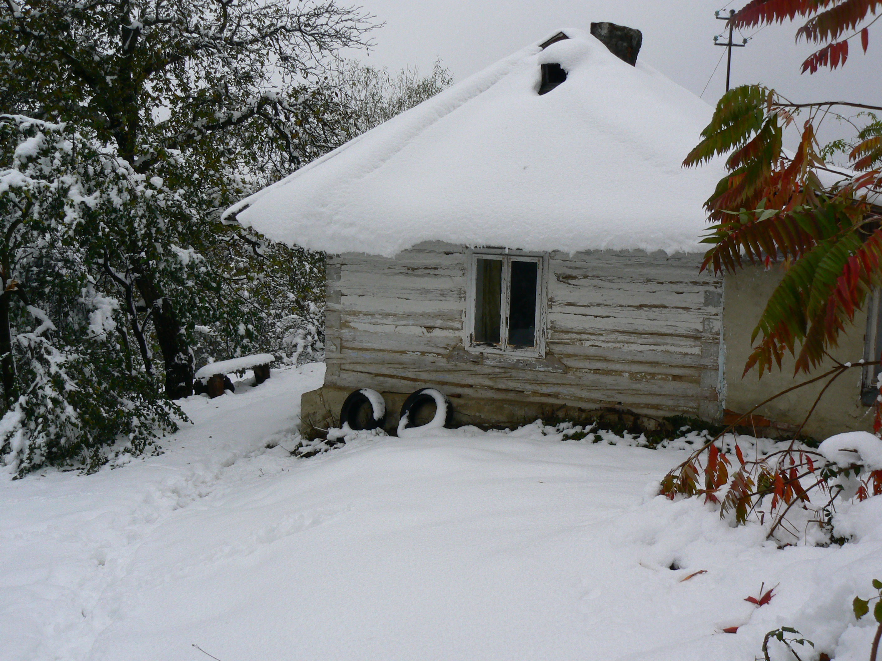 wooden cabin house snow