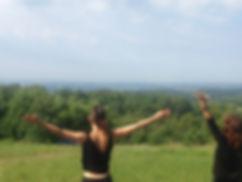 yoga sky hillside