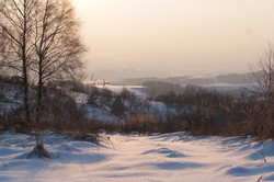 snowy landscape farm