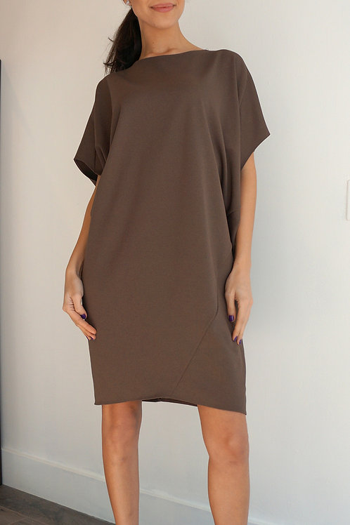 Bat Sleeve Asymmetric Dress
