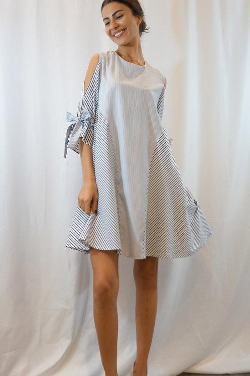 Ribbon Cold Shoulder Dress
