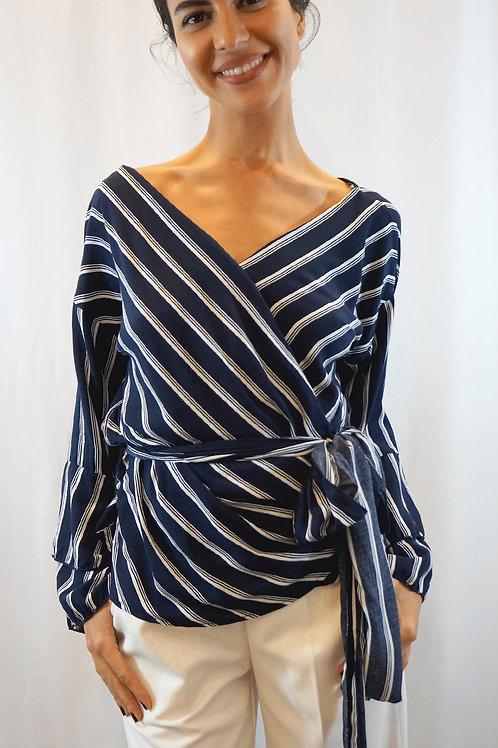 Stripe wrap Tied Top