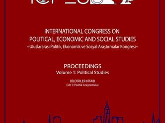 ICPESS 2017 Proceedings Volume 1: Political Studies - Bildiriler Kitabı Cilt 1: Politik Araştırmalar