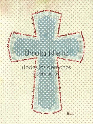 Cruz azul con el Padre Nuestro 15x20cm