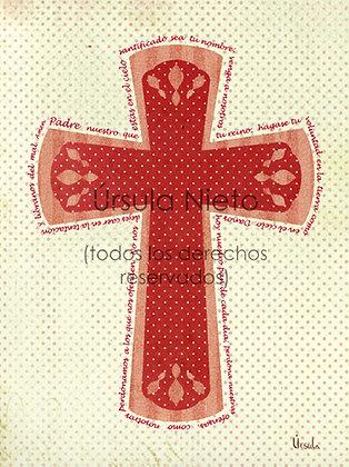 Cruz roja con el Padre Nuestro 15x20cm