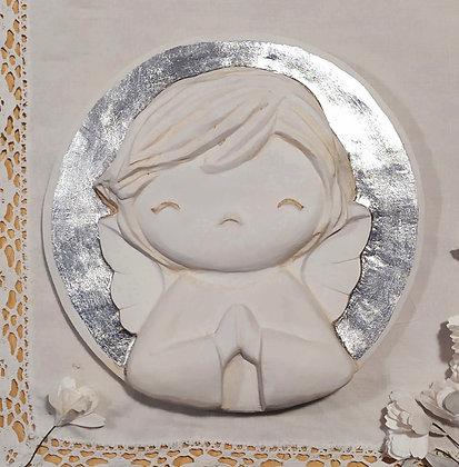 Angelito de escayola con halo en plata