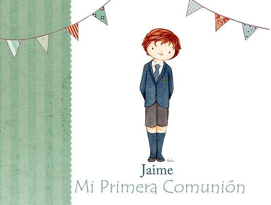 Libro personalizado con rayas verdes para Primera Comunión