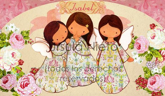Tríptico personalizado con angelitos en rosa