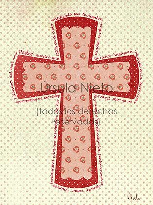 Cruz rosa con el Padre Nuestro 15x20cm