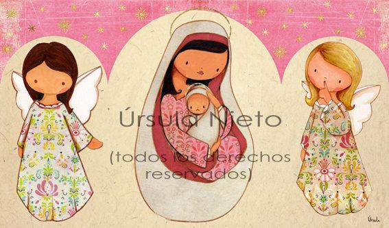Tríptico de la virgen con angelitos en rosa
