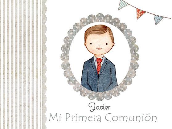 Libro personalizado gris y con orla para Primera Comunión