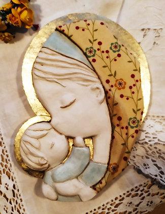 Virgen con el Niño pintada en blanco (tela nº13)