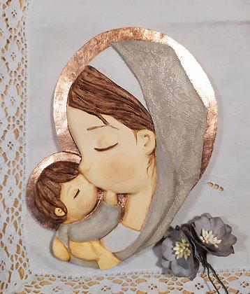 Virgen con el Niño pintada y el manto de encaje