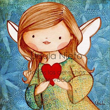 Angelito (niña) con corazón en azul