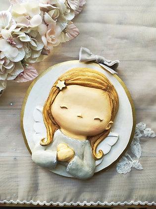 Angelito niña de escayola pintado a mano