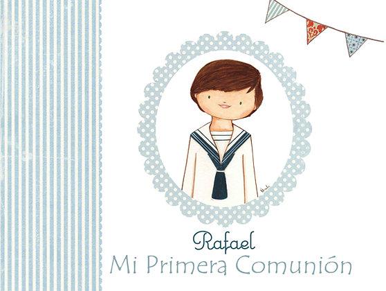Libro personalizado con rayas celestes y orla para Primera Comunión