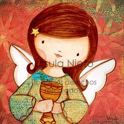 Angelito (niña) con cáliz y el fondo en rojo
