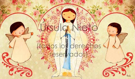 Tríptico de la Virgen de Lourdes (rosa)