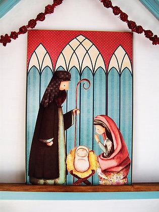 Sagrada Familia en azul y rojo (cuadro 30x44cm)