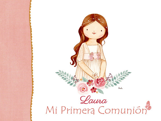 Libro personalizado con orla pequeña de flores para Primera Comunión