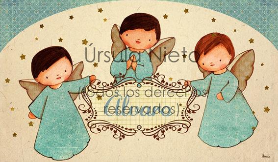 Tríptico personalizado con angelitos en azul