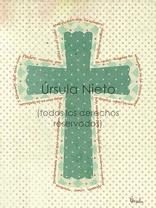 Cruz verde con el Padre Nuestro 15x25cm