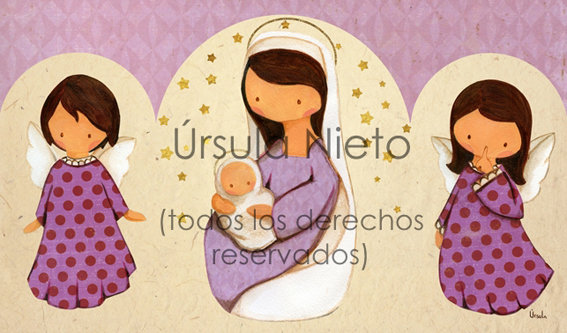 Tríptico de la virgen con angelitos en lila
