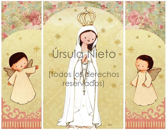 Tríptico de la Virgen de Fátima (rosa) interior