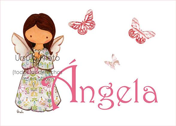 Cuadro de angelito o virgencita personalizado con el nombre