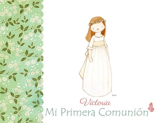 Libro personalizado en verde con flores para Primera Comunión