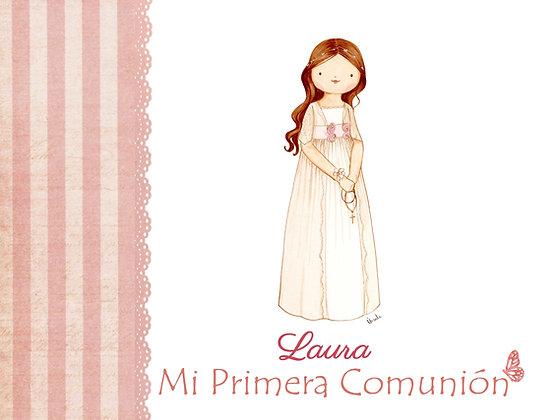 Libro personalizado con rayas rosa para Primera Comunión