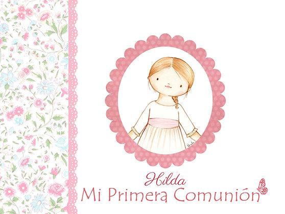 Libro personalizado con flores en rosa y azul con orla para Primera Comunión