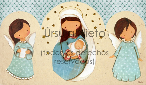 Tríptico de la virgen con angelitos en azul
