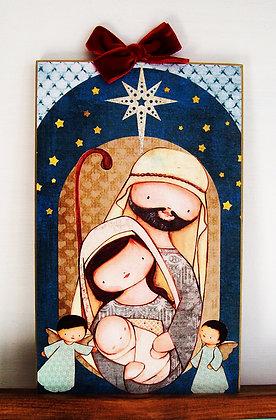Sagrada Familia con angelitos (cuadro 15x25cm)