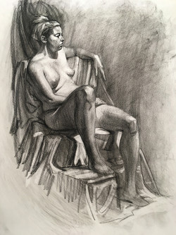 Student Figure Drawing Charcoal on Paper.