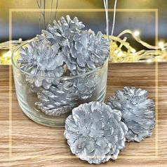 Silver Pinecone Decor