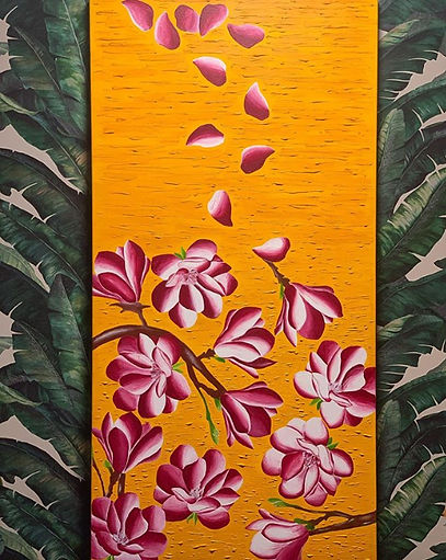 The Dancing Magnolia Acrylic Painting