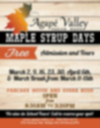 Maple Syrup Days - Agape Valley