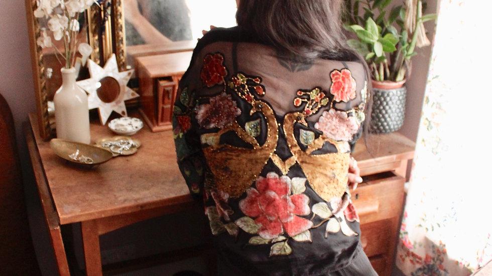 Black Peacock Kimono