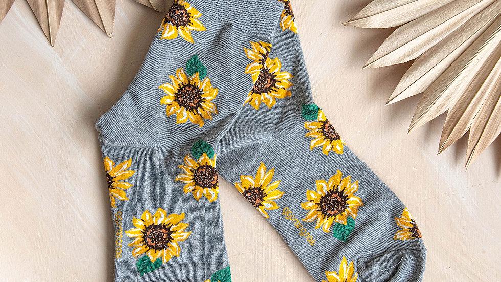 Grey Marl Sunflower Socks